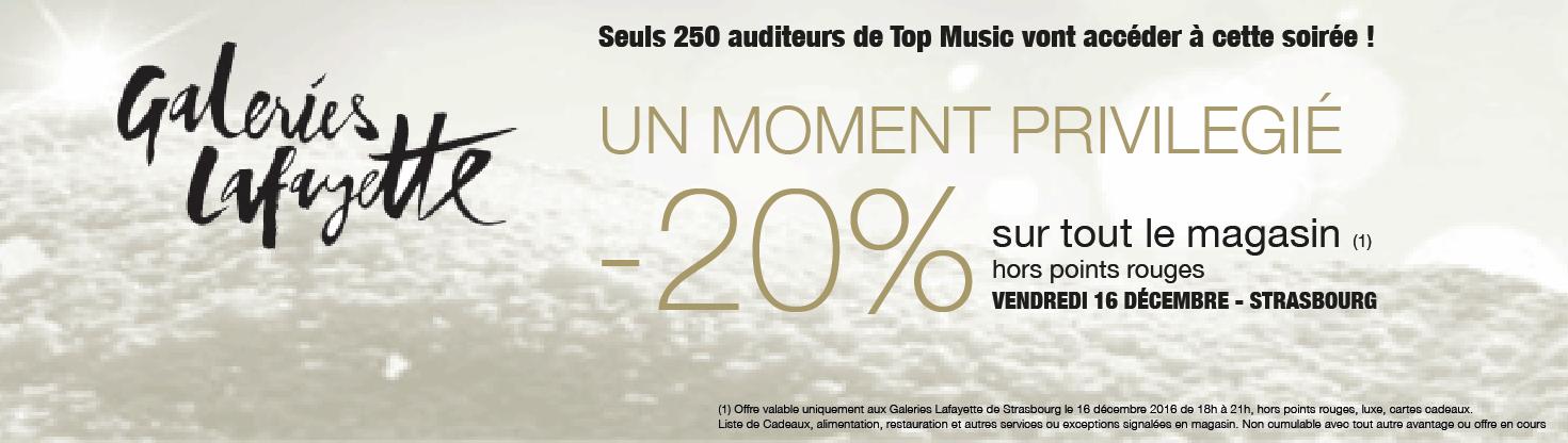 Galeries Lafayette : Top Music vous invite à la soirée shopping privé du 16 décembre 2016 à Strasbourg
